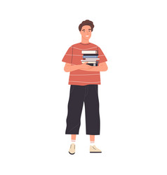 Young happy male reader or student standing vector
