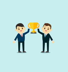 business men wear suite show up trophy cup vector image vector image
