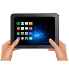hands holding digital tablet vector image vector image