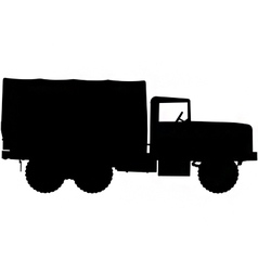 army truck silhouette vector image vector image