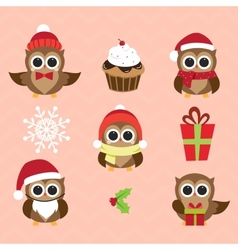 Christmas and New Years owls in funny costumes vector image vector image