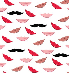 Lips and mustache pattern vector image