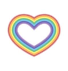 Rainbow icon heart white vector image vector image