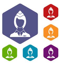 stewardess icons set vector image