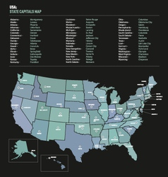 USA state capital names map vector image