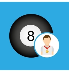 Athlete medal pool ball icon graphic vector