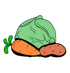 cabbage carrot potatoe icon cartoon vector image vector image
