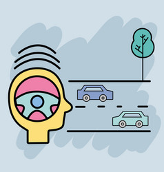 Cars on the street and tree to learning drive vector