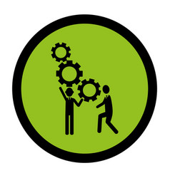 circular frame with silhouette gear wheel icon and vector image