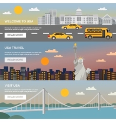 Flat Banners Set USA TRavel Information vector image vector image