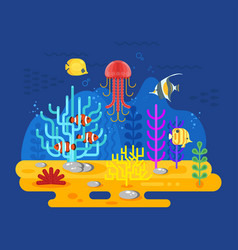 flat style of coral reef with fish vector image vector image