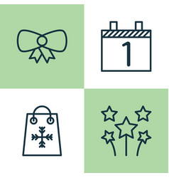 happy icons set collection of festive fireworks vector image vector image