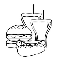 hot dog and burger with sodas straw beverage vector image