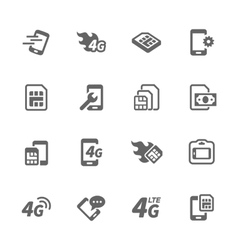 Simple Sim Card Icons vector image