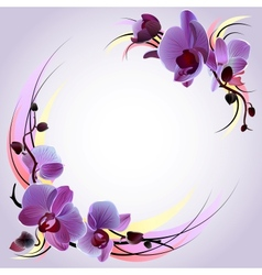 greeting card with violet orchids vector image vector image