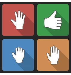 Hand Set Icins with Long Shadow vector image vector image