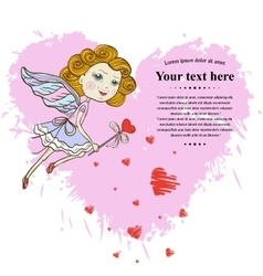 Little Fairy with pink heart vector image vector image