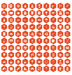 100 coffee icons hexagon orange vector