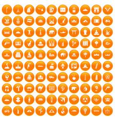 100 world tour icons set orange vector