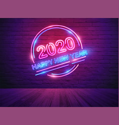 2020 happy new year with neon light alphabet vector