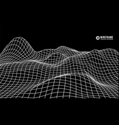 3d wireframe mountain terrain on black background vector image