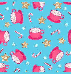 a cup of hot cocoa with candy cane and gingerbread vector image