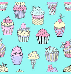 A seamless pattern cakes vector