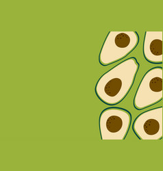Avocado fruit background with cute ripe vector