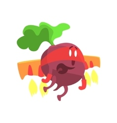 Beetroot WIth Jet Wing In Mask Part Of Vegetables vector