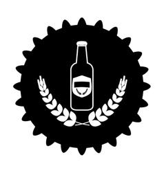 Black beer cap emblem icon image vector