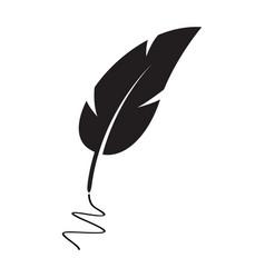 black feather silhouette pen vector image