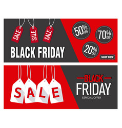 black friday sale horizontal banners vector image