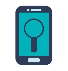 blue cellphone with magnifying glass vector image