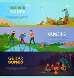 camping people horizontal banners vector image