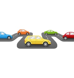 Cars on Road Perspective Transport Background vector