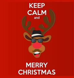Cartoon christmas santas reindeer peeking round vector