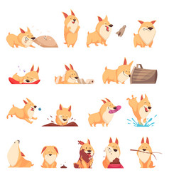 Cartoon cute puppy set vector