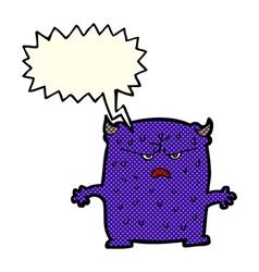 Cartoon little alien with speech bubble vector