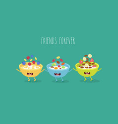 Cereal bowls friends vector