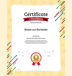 Certificate template in football sport theme with vector