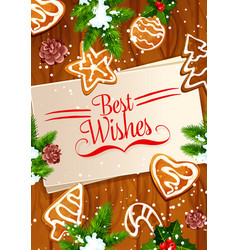 Christmas cookie and new year gingerbread banner vector