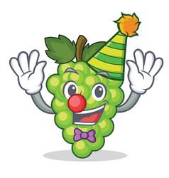 Clown green grapes mascot cartoon vector