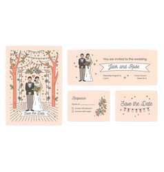 collection save date card wedding ceremony vector image