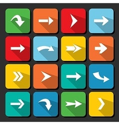 colorful arrow icon collection on square web vector image