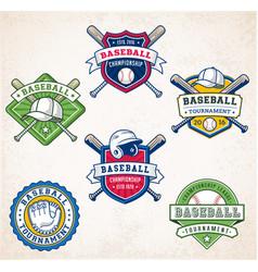 colorful baseball logos vector image