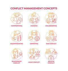 Conflict management red gradient concept icons set vector