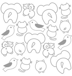 Cute funny animals showing their backs wallpaper vector