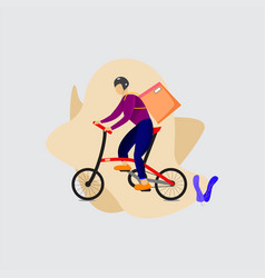 Delivery bicycle man vector