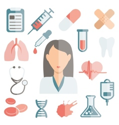 doctor flat icons vector image