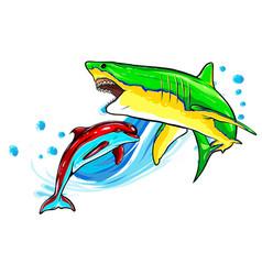 dolphin and shark funny cartoon vector image